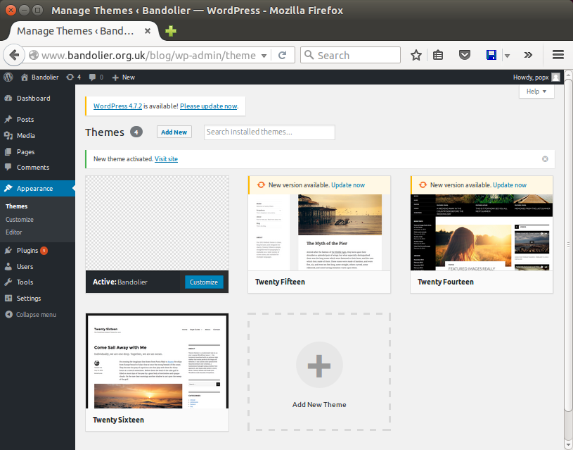 Screenshot of theme-selection page with Bandolier theme active