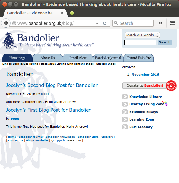 Screenshot of my experimental Bandolier blog-posts page