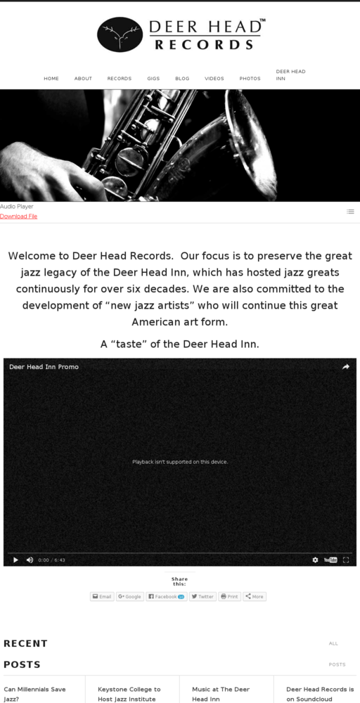 Screenshot of http://deerheadrecords.com home page
