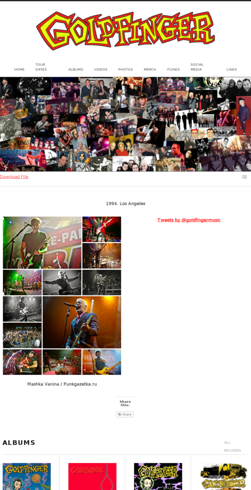 Screenshot of http://goldfingermusic.com home page