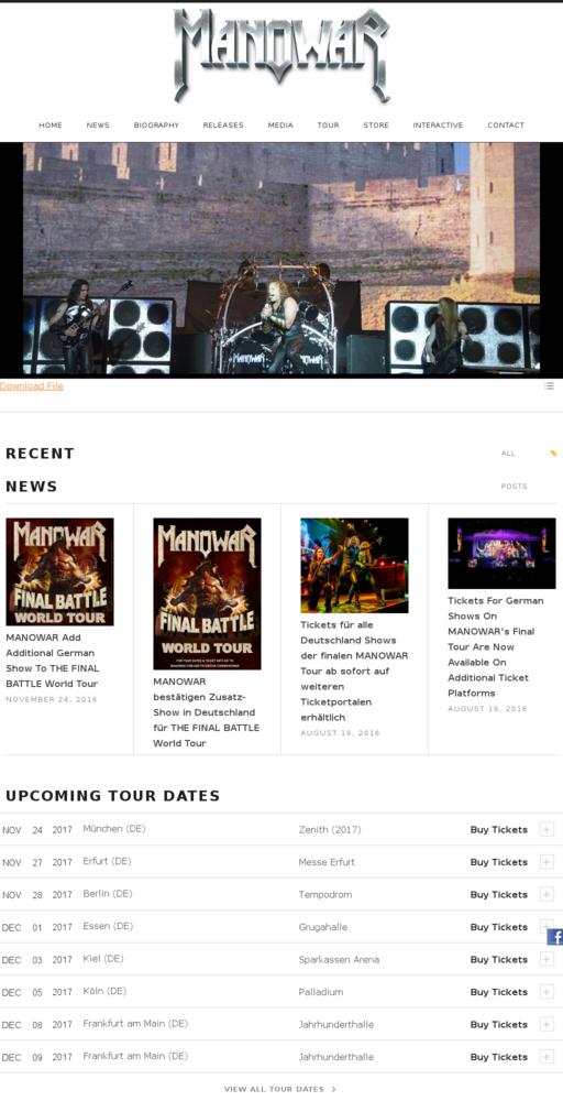 Screenshot of http://manowar.com home page