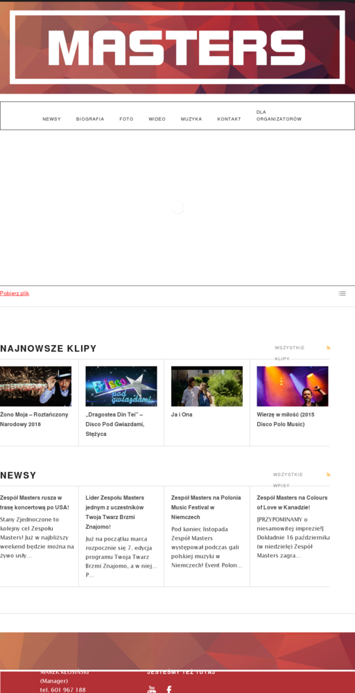 Screenshot of http://mastersmusic.pl home page
