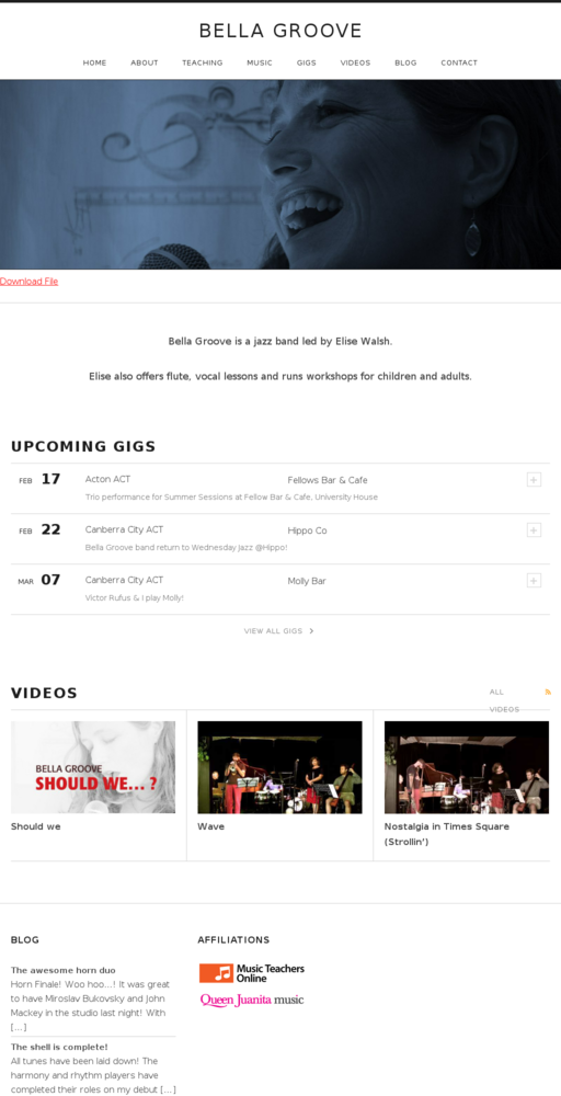 Screenshot of http://www.bellagroove.com home page