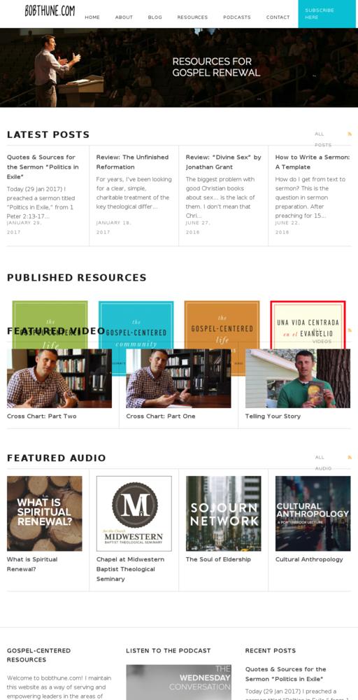 Screenshot of http://www.bobthune.com home page