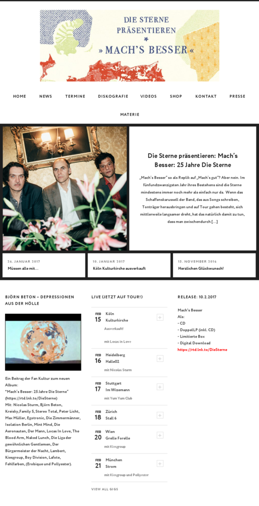 Screenshot of http://www.diesterne.de home page