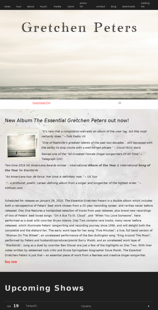 Screenshot of http://www.gretchenpeters.com home page