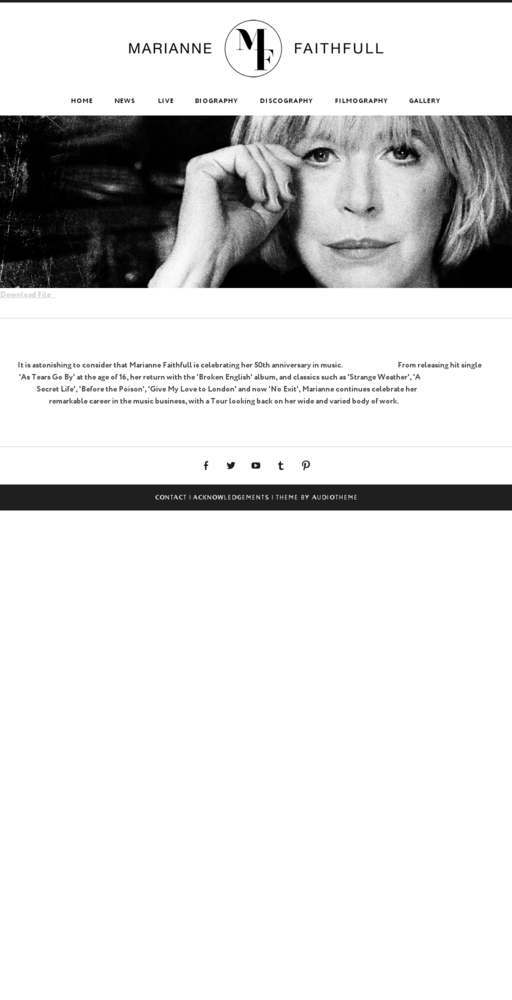 Screenshot of http://www.mariannefaithfull.org.uk home page