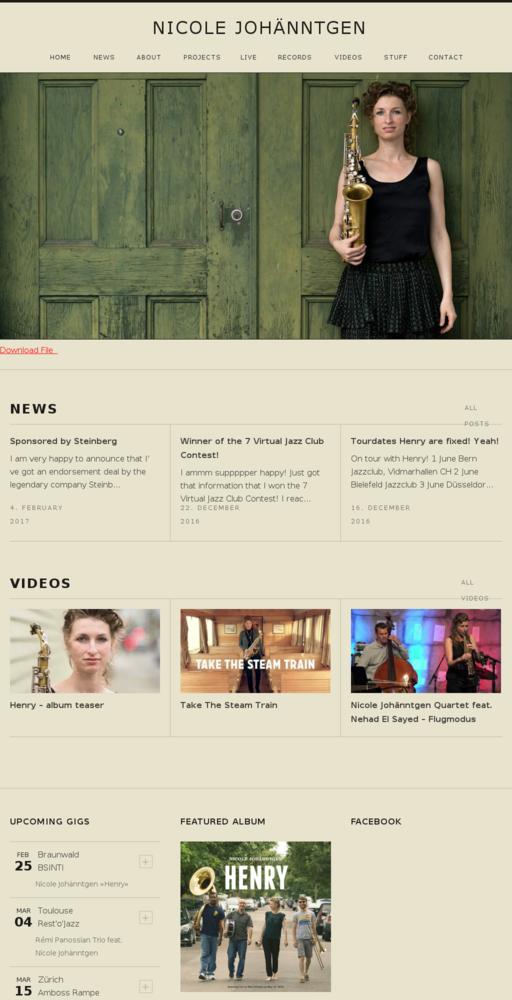 Screenshot of http://www.nicolejohaenntgen.com home page