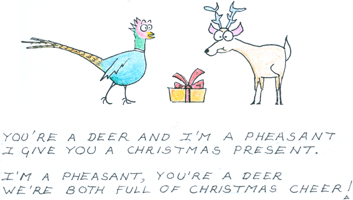 A pheasant and a deer stand looking at a parcel wrapped