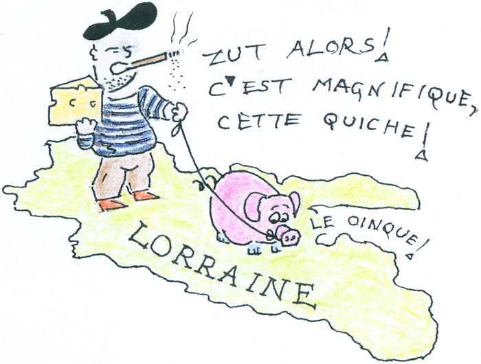 A Frenchman in beret and stripy shirt, smoking a disgusting 