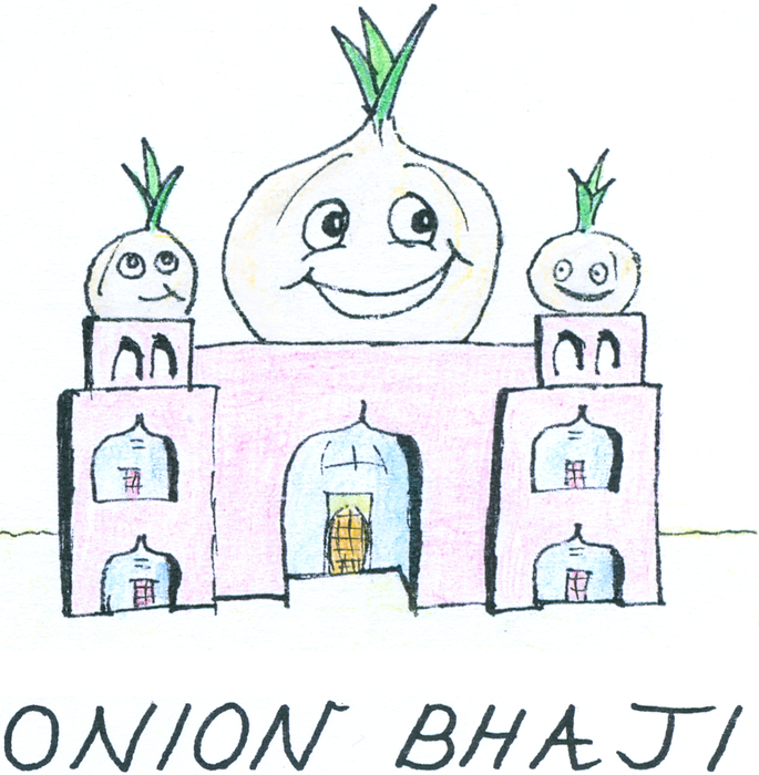 A colourful Taj Mahal-like building. Its three domes are onions.