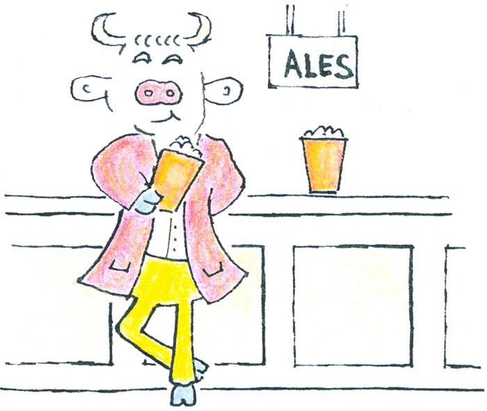 A bull leaning on a bar, pint of ale in its             hoof and another waiting on the bar.