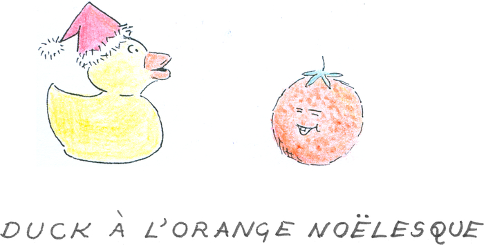 A yellow plastic duck wearing a Santa hat looking at a smiling