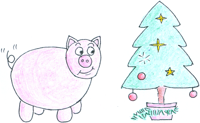 A pig, its tail wagging, looking expectantly at a Christmas             tree.