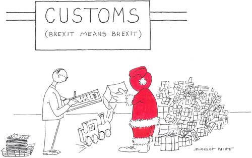 Santa standing in customs post staring at pile of wrapped presents, while customs official opens a toy train and makes ticks and crosses on a checklist. A sign above says 'CUSTOMS (BREXIT MEANS BREXIT)'