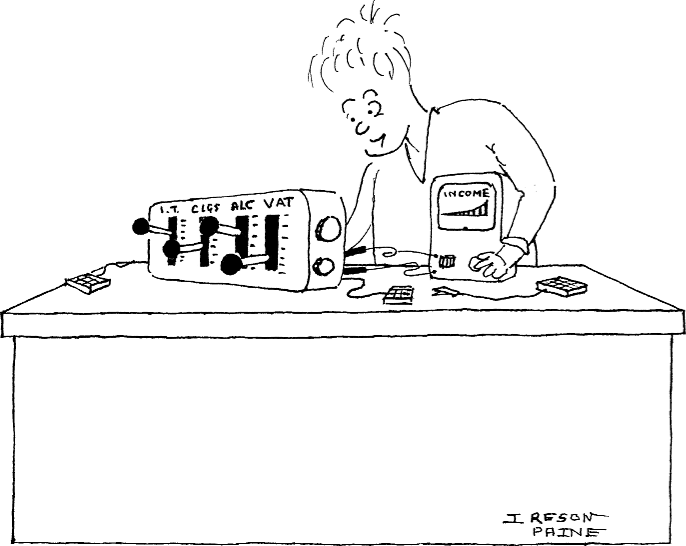 Cartoon of an experimenter probing the innards of an economic model built as a piece of electronics in a case, and displaying an income distribution on a test meter