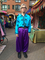 Jocelyn in Gloucester Green Saturday market wearing Moroccan shirt  and tailor-made sarouel commissioned via Fez, April 25th 2015