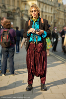 Jocelyn wearing Moroccan shirt and qandrissi (Moroccan sarouel) in Oxford during May Morning 2011