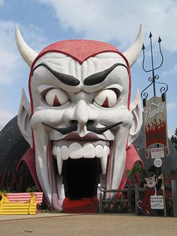 Photo of Satan's head as the entrance to the Dante's Inferno ride in Panama City, Florida